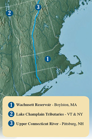 Wachusett Reservoir, Lake Champlain Tributaries and the Upper Connecticut River