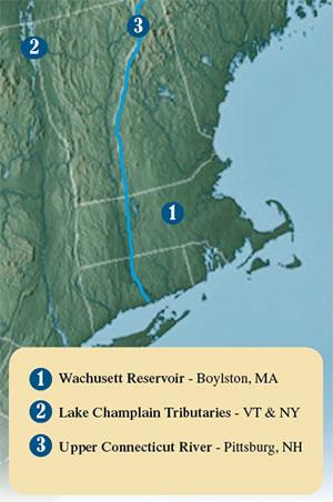 Wachusett Reservoir, Lake Champlain Tributaries and the Upper Connecticut River