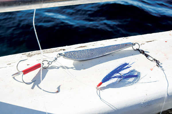 A simple fly or teaser rigged above a jig will attract plenty of strikes and result in numerous double-headers.