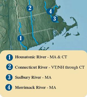 Housatonic River, Connecticut River, Sudbury River and Merrimack River