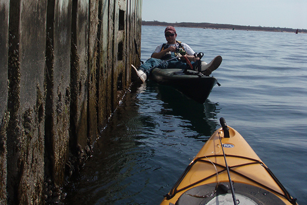 Wedging the kayak between pier or bridge pilings (or using the pedal-drive to maintain your position) allows more freedom of movement.