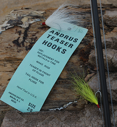 A simple bucktail teaser can be a deadly lure when fished in front of a larger lure or fly.