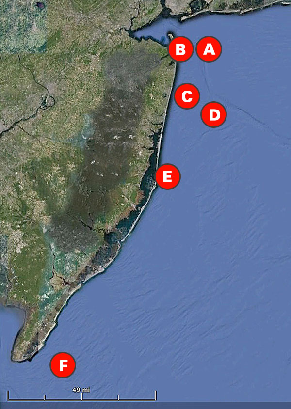 New Jersey bottom fishing map