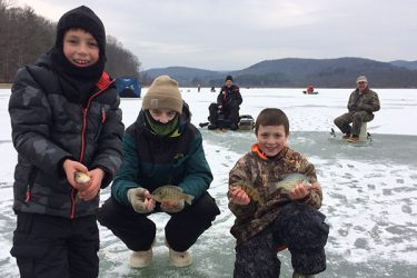 Recently, Shane Meyer (Port Matilda, PA), Quinn Williams (Port Matilda, PA) and Logan Harpster (Petersburg, PA) went ice fishing with their ice fishing mentor, Bill Savage. They caught lots of Yellow Perch, Crappie and Bluegills that made for a delicious dinner! Thank you for sharing your story!