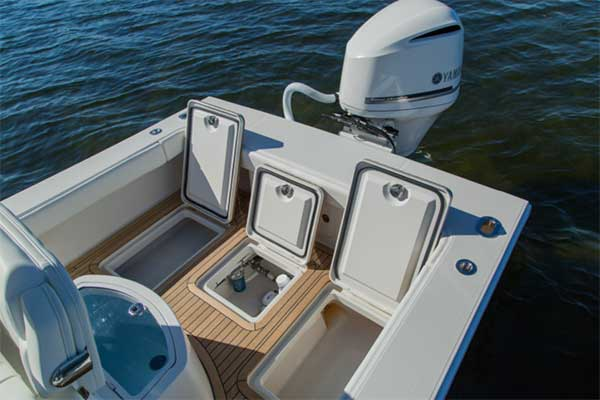 2 220-quart fishboxes and bilge access hatch
