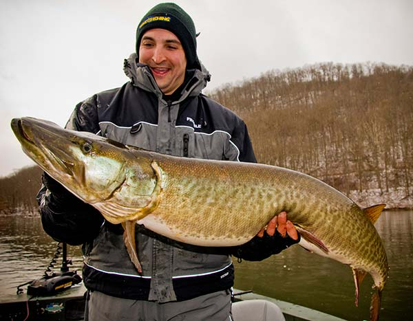 The author with his first trophy muskie, caught on the Middle Allegheny River.