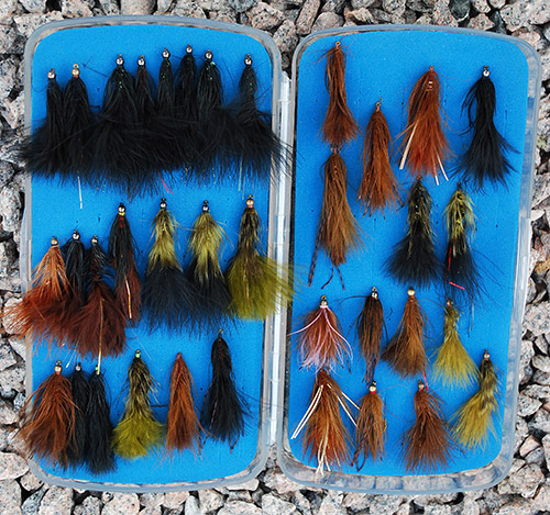 fly box filled with nymphs, streamers, woolly worms, leeches, Gaines Black Gnats and Sneaky Petes.