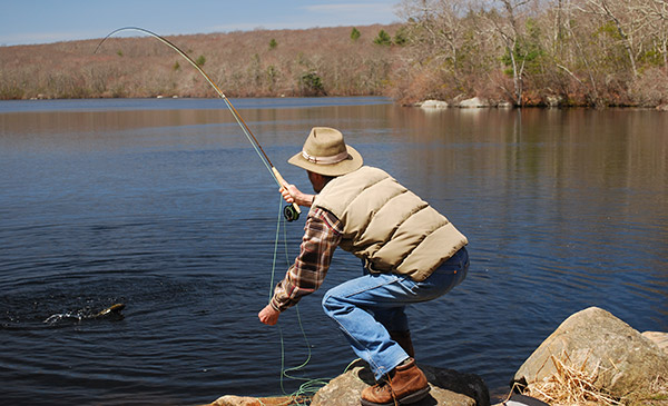Try to keep the rod bend fairly slight by angling the tip toward the fish. This puts the pressure on the rod butt, which has a surprising amount of power for such a light rod.