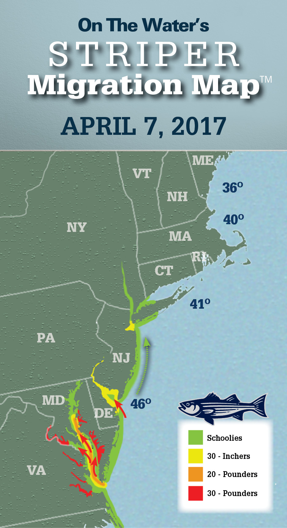 Striper migration map april 7 2017 on the water for Best striper fishing spot in ri