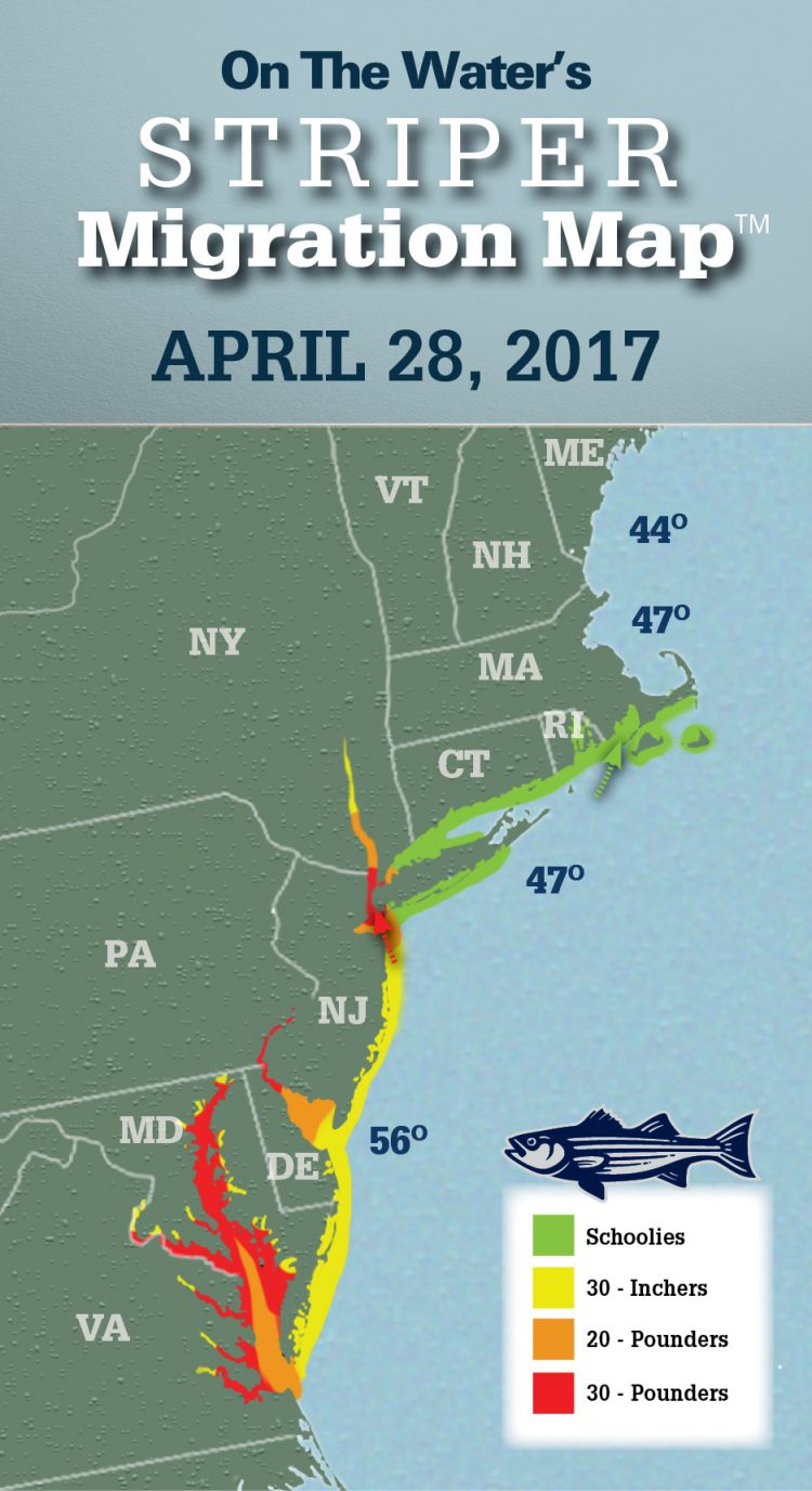 Striper Migration Map - April 28, 2017 - On The Water