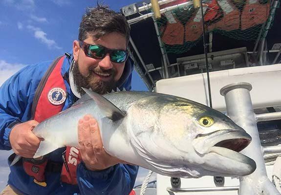 Casey Allen with a big Buzzards Bay Bluefish