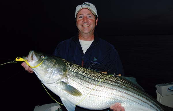 Kevin McCreesch caught this nearly 40-pound bass on a topwater chugger in 55 feet of water.