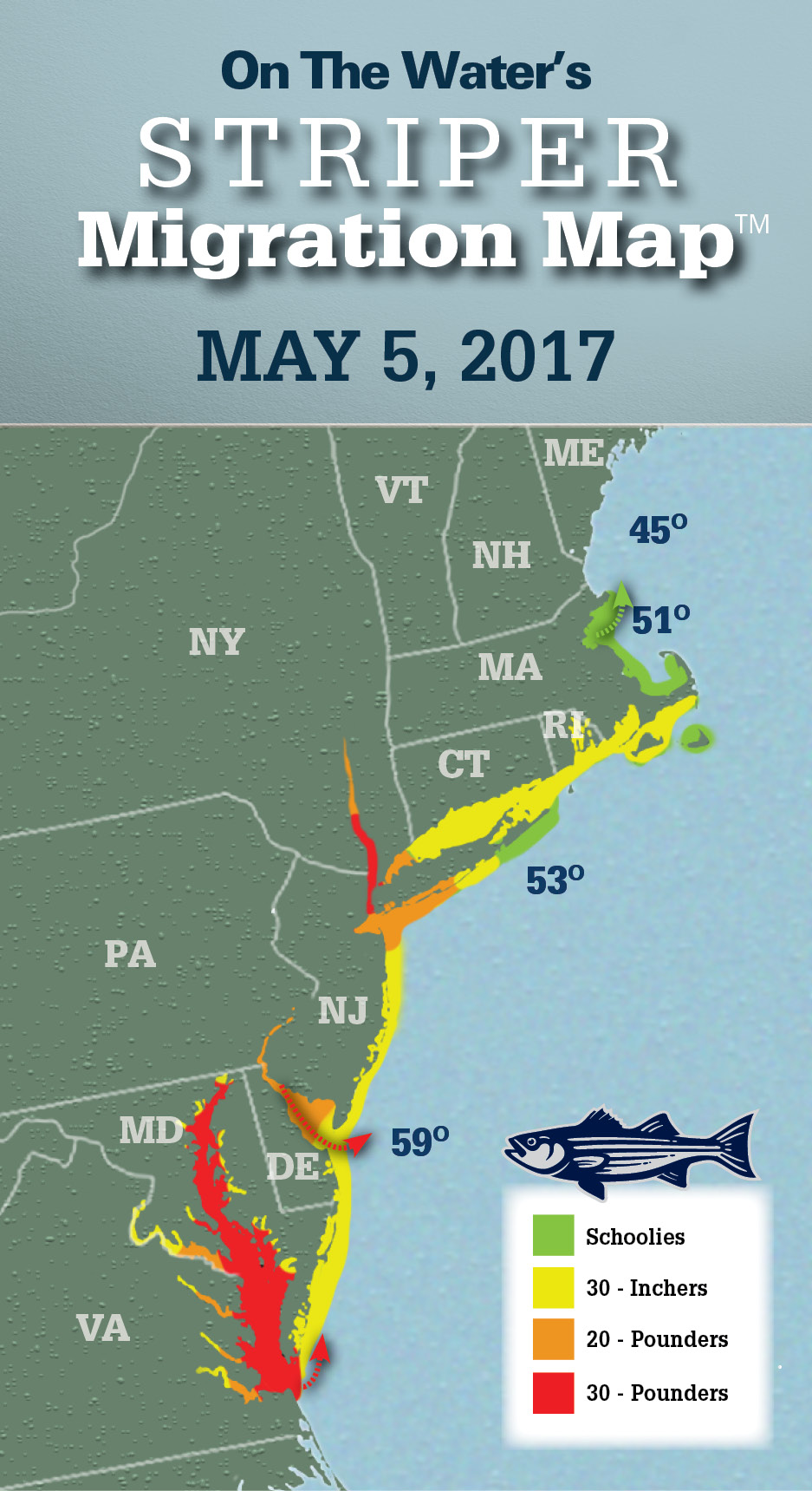 Striper migration map may 5 2017 on the water for Cod fishing ri