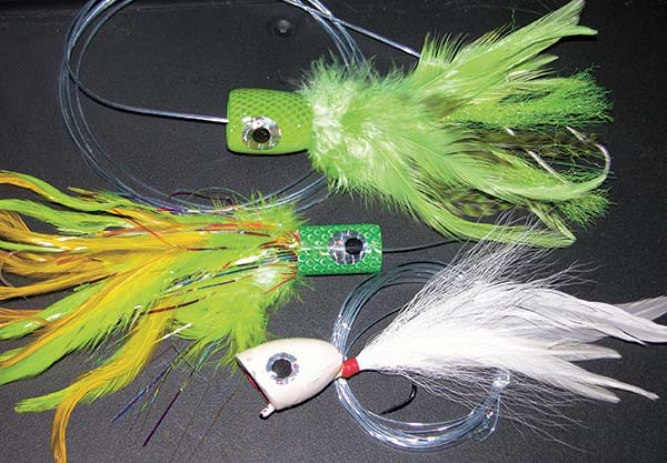 A large banger or chugger fly can make a big commotion, triggering reaction strikes from trophy stripers.