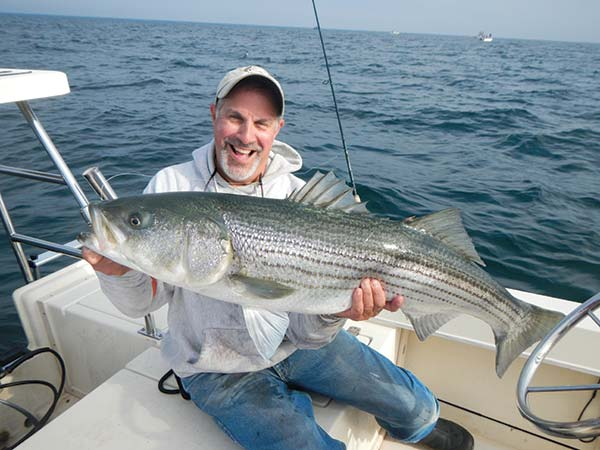 Dr. Richard Cambria caught this striper on an unweighted Got Stryper soft plastic.