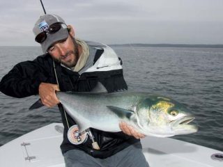 Captain Vinny Catalano of Joey C Charters admires a big blue