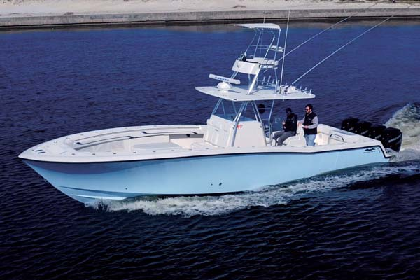 Beau The Invincible 42 Center Cabin Is Available With Triple Or Quad Outboards.  With Top Speeds In Excess Of 65 MPH (with Triples) The 565 Gallon Fuel  Capacity ...
