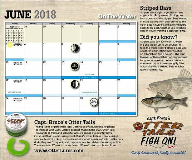 Check out the new 2018 on the water calendar on the water for Lunar fishing chart