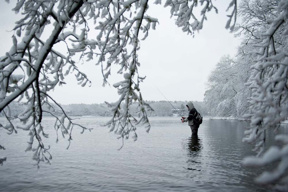 Winter trout fishing in the snow