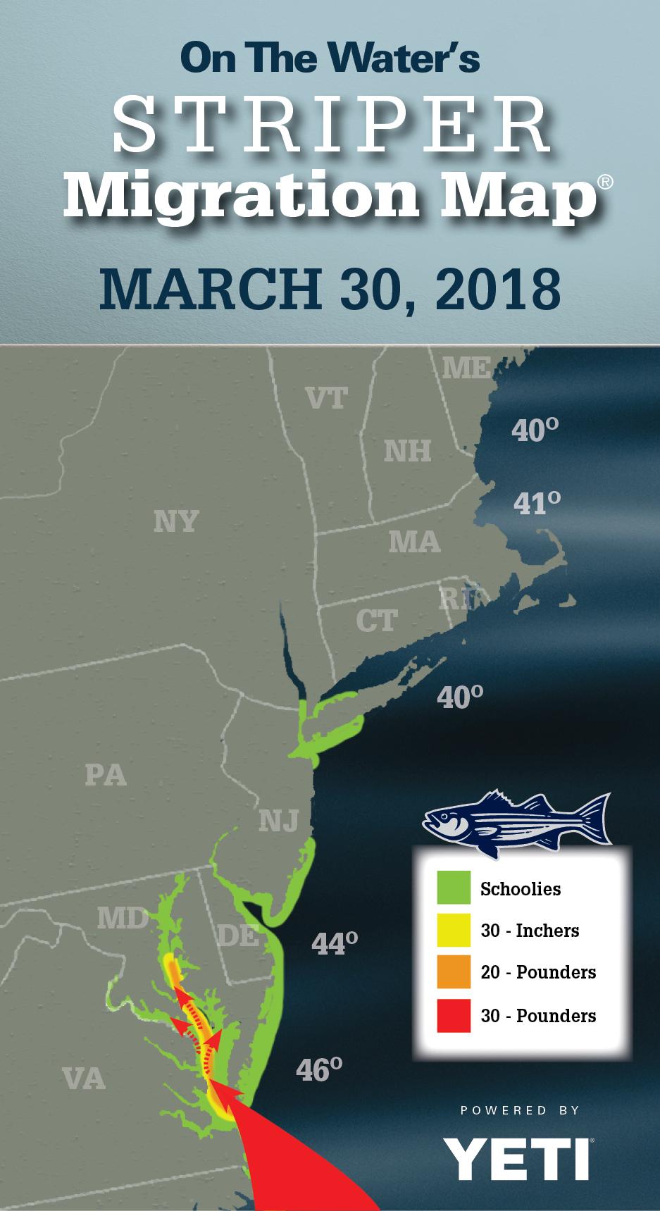 Striper Migration Map March 30 2018