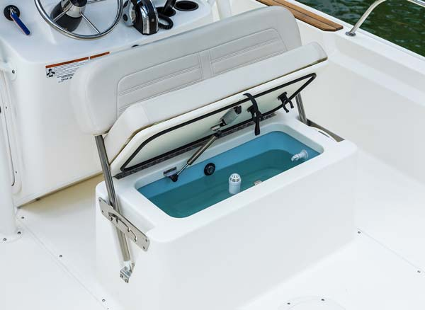 Montauk includes an integrated forward fishbox/storage compartment