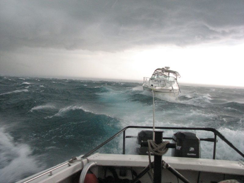 Boat tow in weather