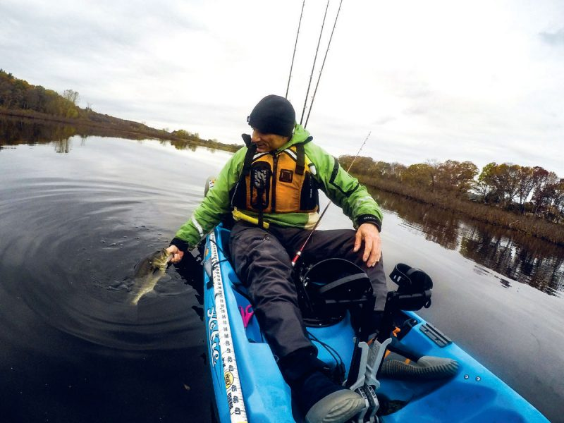 Fall bass from the kayak
