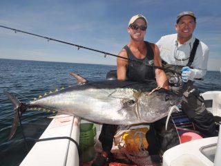 Captain Bobby Rice with a summer bluefin
