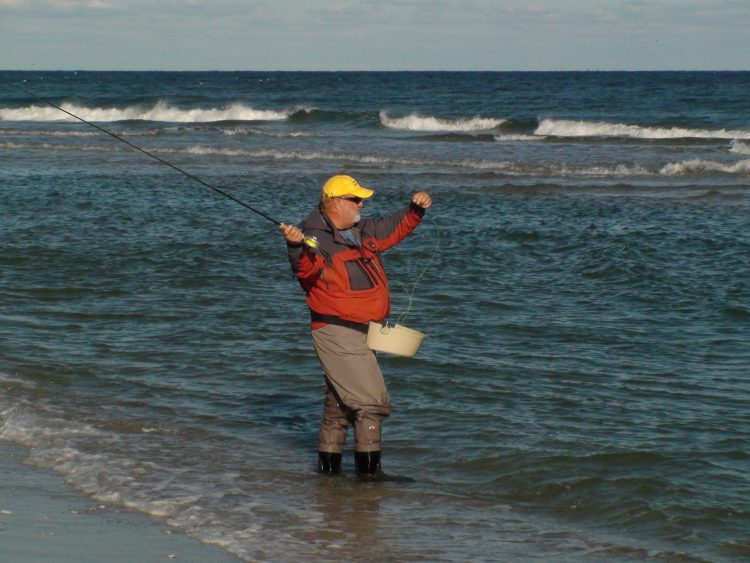 Bob Popovics says to be aware of the current, breeze, and beach structure while fly-casting.
