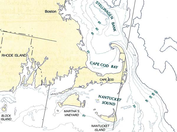 Stellwagen Bank And Cape Cod map