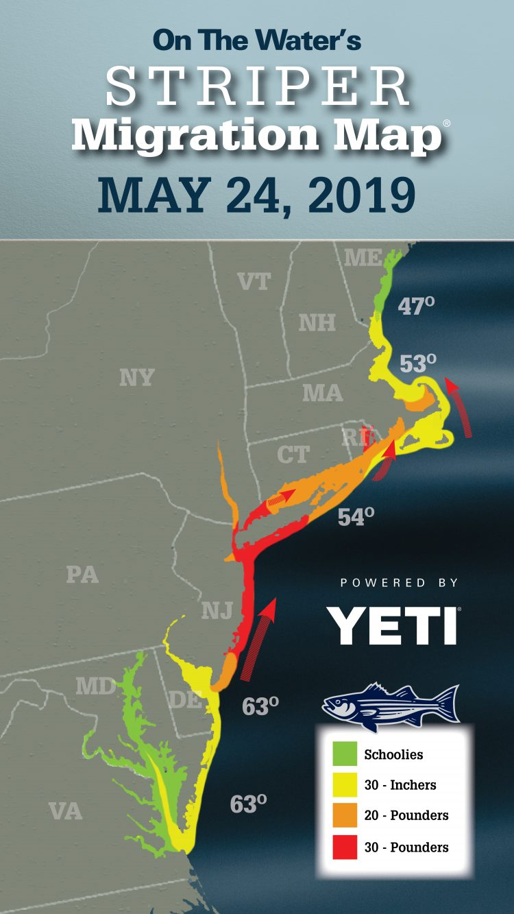 Striper Migration Map - May 24, 2019 - On The Water