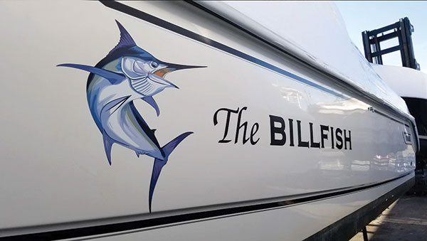 Kiwi Signs Boat Lettering