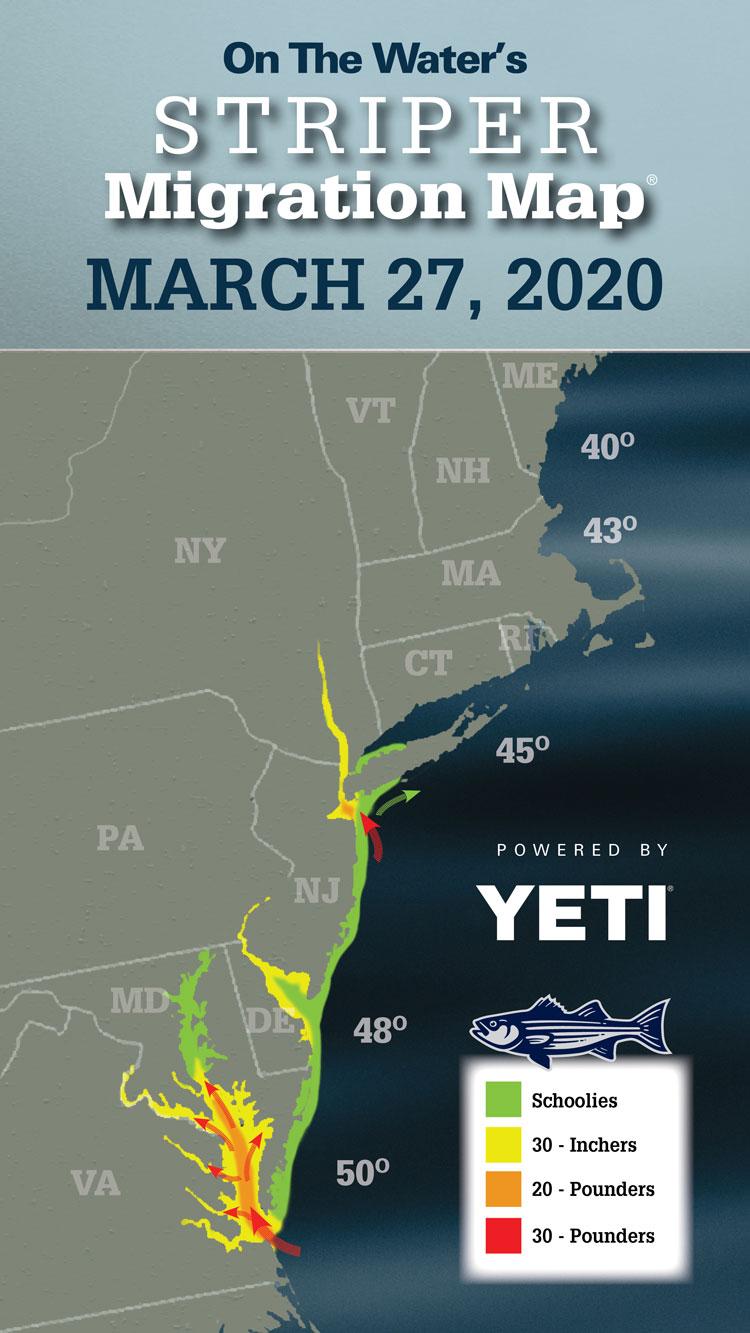 Striper Migration Map March 27, 2020