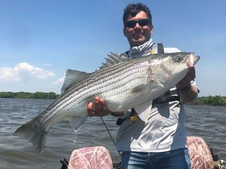 John Gagne with a healthy back bay striped bass