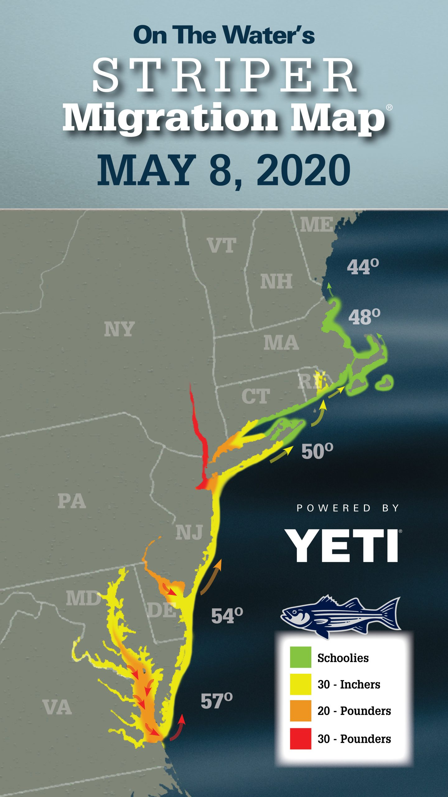 Striper Migration Map May 8, 2020