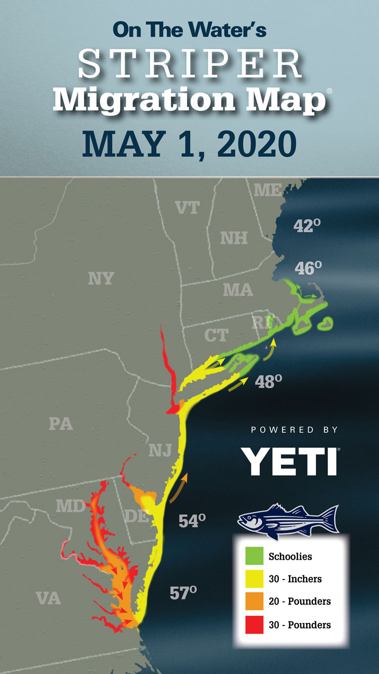 Striper Migration Map May 1, 2020