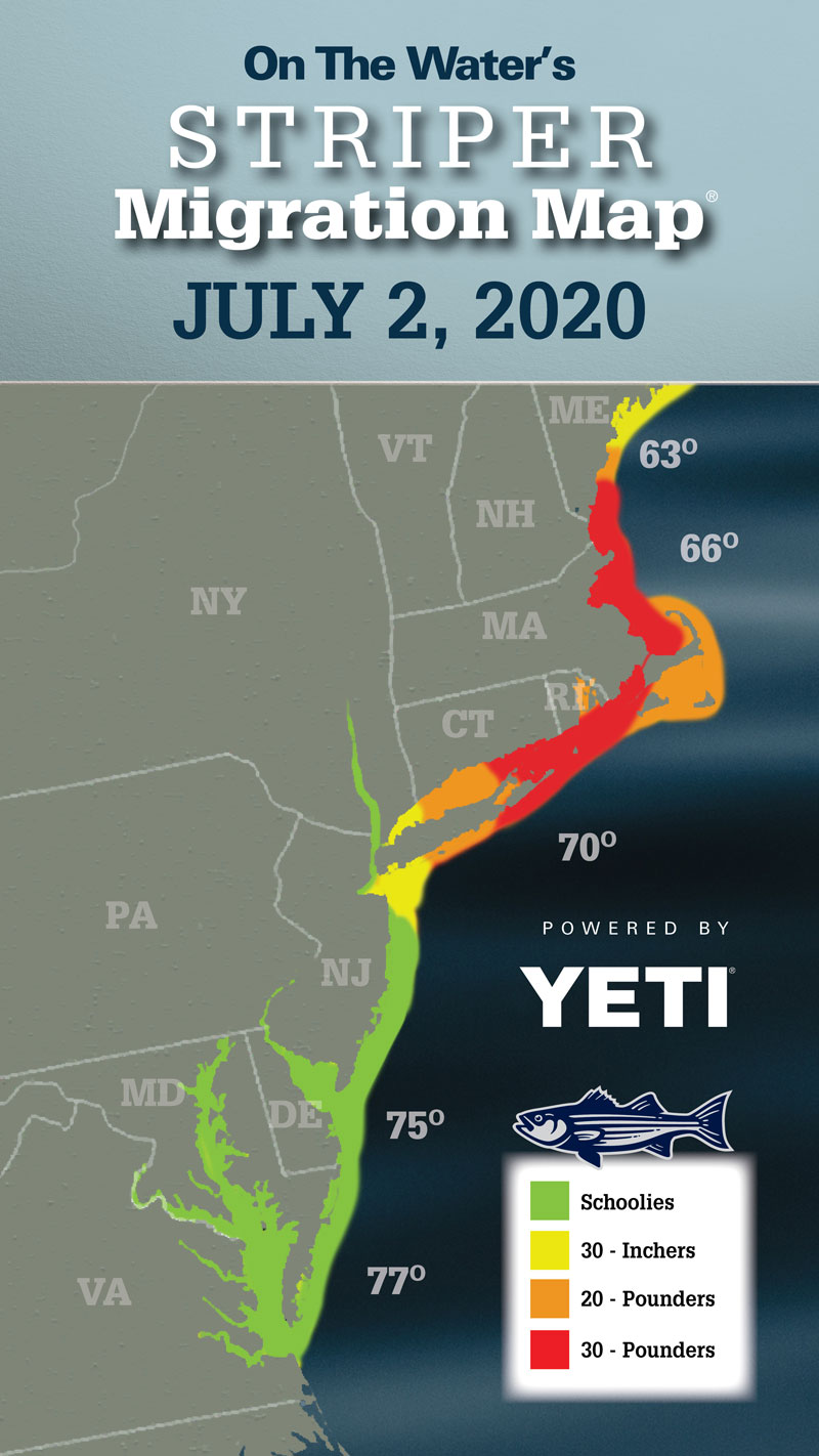 Striper Migration Map - July 2, 2020