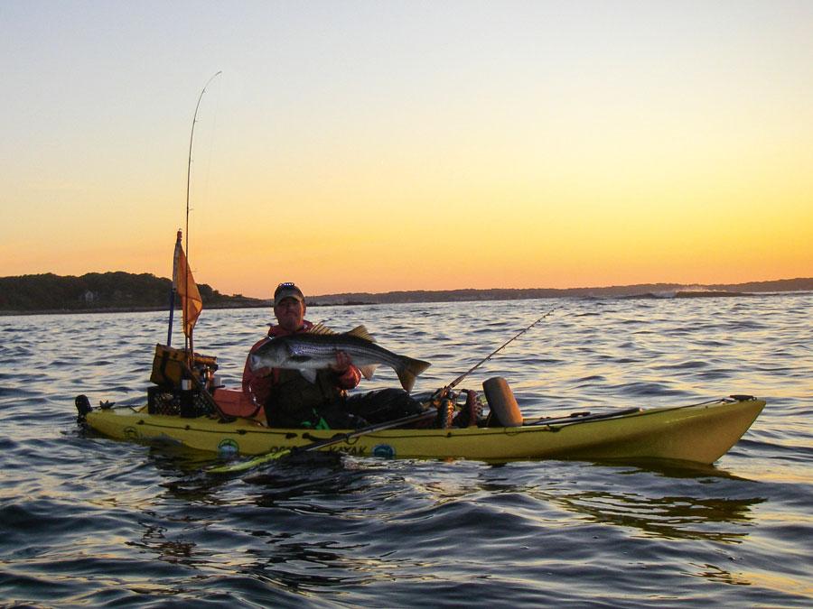 sunrise kayak striped bass