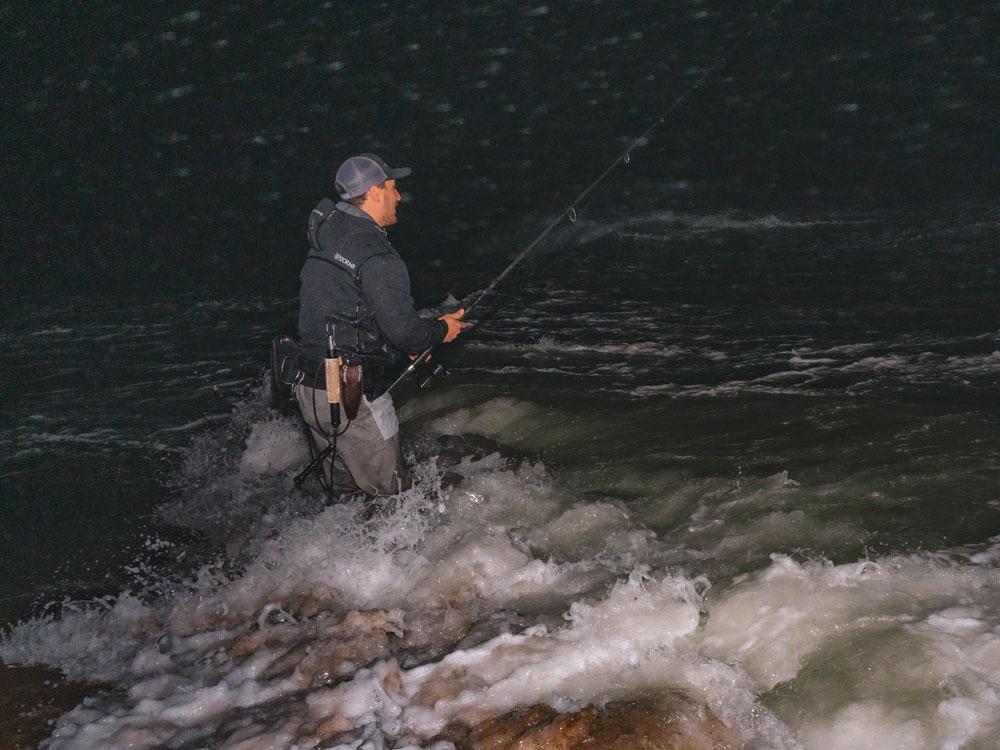 surf fisherman in rough seas