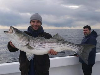 A large striper caught on Wednesday aboard the Mimi VI out of Point Pleasant Beach.