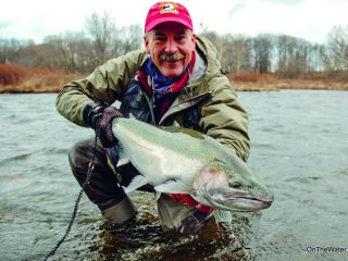 Gary Edwards with his personal best steelhead, caught in the Douglaston Salmon Run section of the Salmon River in November 2013.
