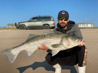 Matt Heckman with a 28-pound bass caught in the Hamptons.
