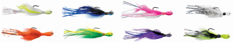 The SPRO Power Bucktail Custom Jig is offered in 8 colors.