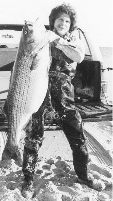 Tony Stetzko with the 73-pound striper he caught off a Cape Cod beach on November 3, 1981. The author broke that story after he received a call from Stetzko's longtime fishing partner, Tony C., who owned the BASS RUN tackle shop on the lower Cape, where he tied the Black Beauty dropper fly this specimen ate that was fished ahead of a live eel.