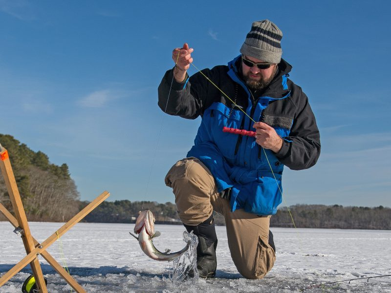 Learn a few tips and techniques to safely go ice fishing and catch northern pike, trout, largemouth, smallmouth, panfish, and more.