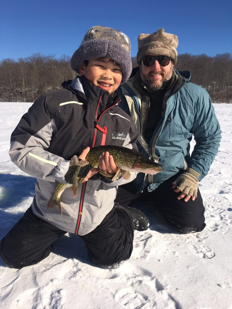 This pickerel was one of many caught by Oliver and Anthony Licata during a fun day on the New Jersey ice.