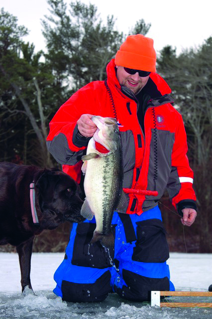 Some anglers fish several ice tip-ups simultaneously to increase their odds of hooking up.