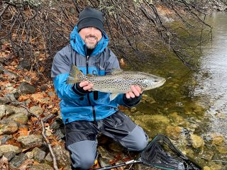 Kierran Broatch holds a brown trout caught on Dec. 31.