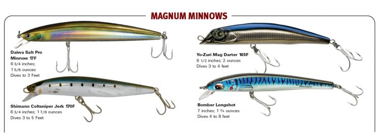 Minnow swimmers like the Daiwa SP Minnow and Yo-Zuri Mag Darter are some of the most effective plugs for stripers.