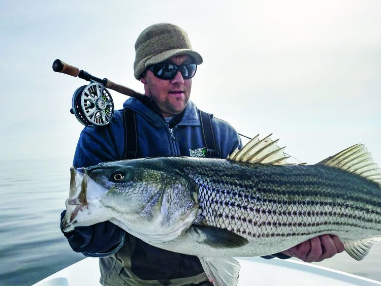 John Bentley left the conventional gear at the dock on a trip with Captain Greg Cudnik, and he was rewarded with this big fly rod striper.